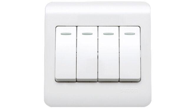 西蒙开关插座面板C3系列雅白色四开双控开关带荧光C31011BY