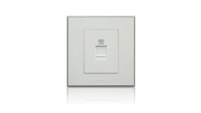 西蒙86型开关插座C3白色系列 一位电话插座 C35214