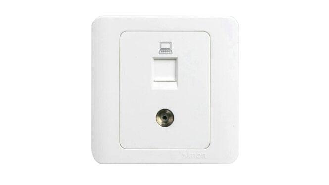 西蒙86型开关插座C3白色系列 电视加电脑插座 C35302
