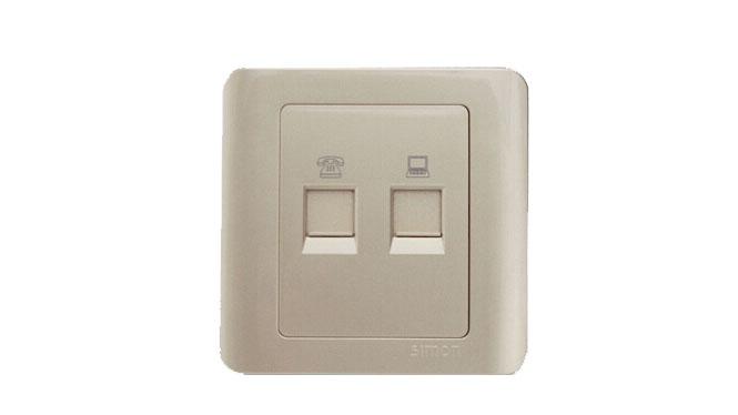 西蒙C3系列开关插座面板电话加电脑信息插座