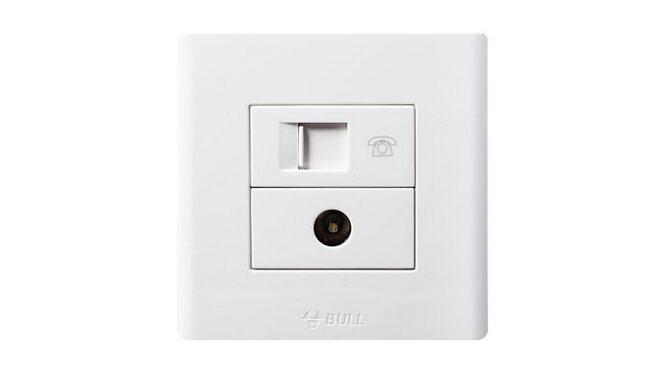 公牛安全插座 开关插座面板 G06系列 电话插座+电视插座 G06T213