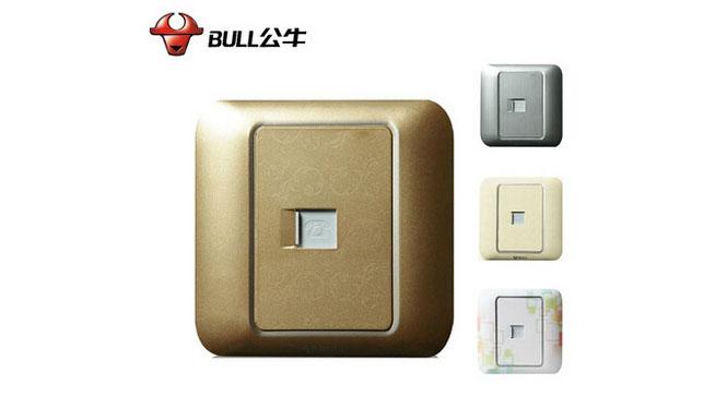 公牛炫彩色装饰墙壁开关插座面板 一位电话插座 G10T101 多彩
