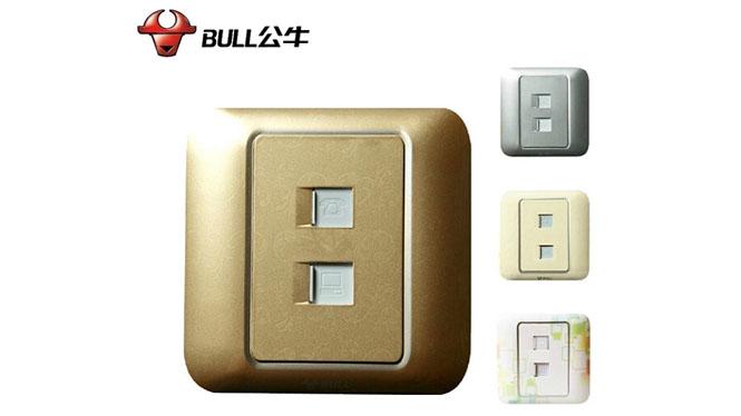 公牛彩色装饰墙壁开关插座面板 电话+电脑插座 多彩 G10T212