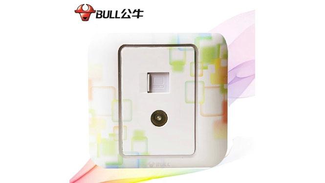 公牛开关插座N10炫彩系列  二位电视电脑插座 多彩 G10T223