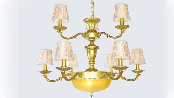 欧式吊灯简约现代创意客厅吊灯卧室灯餐厅灯金色灯饰灯具 805-6+3+3A