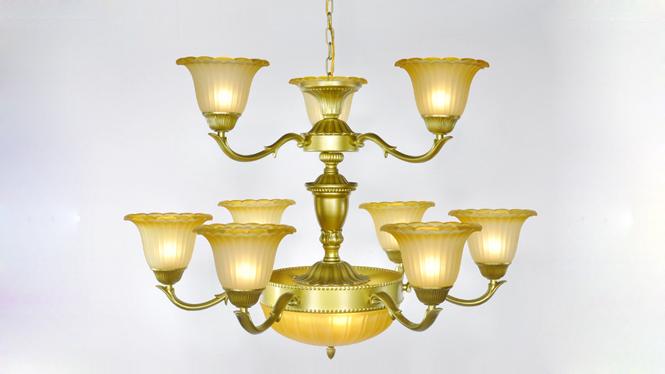 欧式吊灯 美式吊灯铝合金灯奢华客厅餐厅卧室灯具灯饰 805-6+3+3B