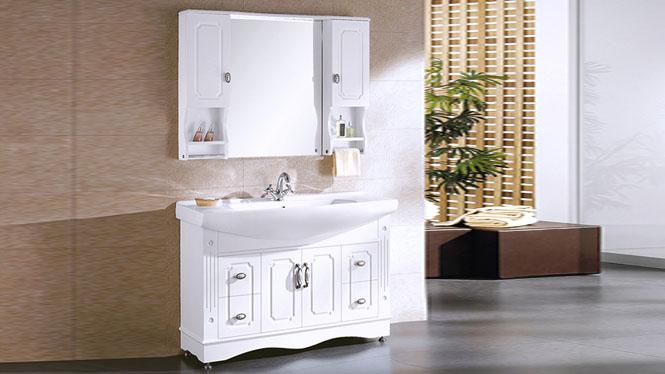 浴室柜 橡木 落地 实木 洗手盆台盆柜 整体洗脸盆柜组合 1200mm Y-0075