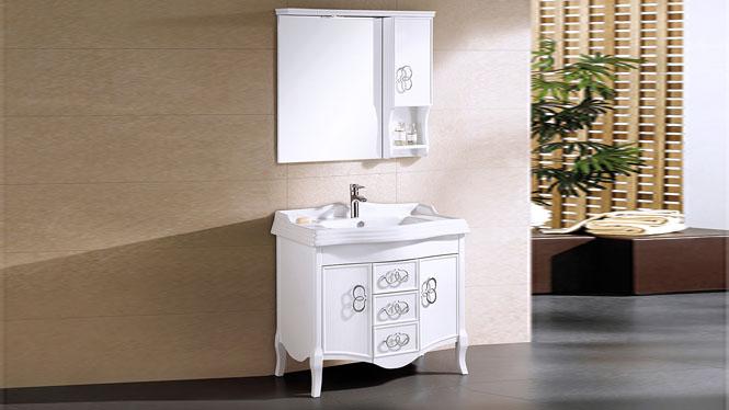 欧式浴室柜组合橡木落地卫浴柜 实木浴室柜洗脸盆柜镜柜浴柜 910mm Y-00111