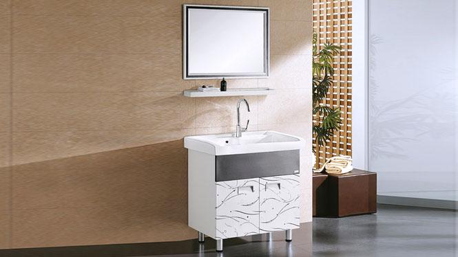 浴室柜组合洗手洗衣柜置物柜卫生间l落地镜柜太空铝合金 830mm YL-6007