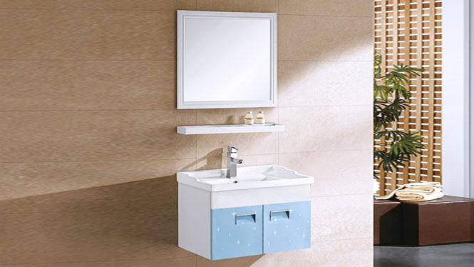 现代简约太空铝挂墙式浴室柜组合洗脸盆龙头一体陶瓷盆 710mm YL-6008