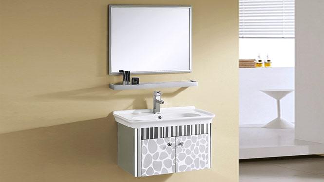 欧式简约不锈钢浴室柜组合挂墙式洗脸洗手盆柜卫浴柜 800mm YB-9059