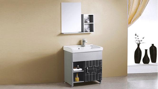 不锈钢洗衣柜组合简约小户型落地式洗脸洗手盆卫浴柜组合 710mm YB-9086