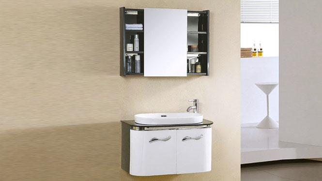 不锈钢浴室柜简约现代卫浴柜组合卫生间一体陶瓷洗手盆挂墙式吊柜 800mm YB-9098