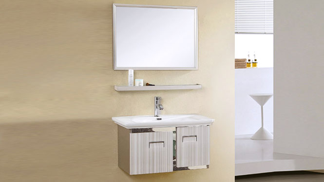 不锈钢浴室柜组合卫生间洗脸盆柜洗手盆柜洗手盆挂墙式吊柜卫浴柜 800mm YB-9102
