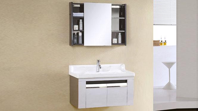 不锈钢浴室柜简约现代卫浴柜组合卫生间一体陶瓷洗手盆挂墙式吊柜 800mm YB-9103