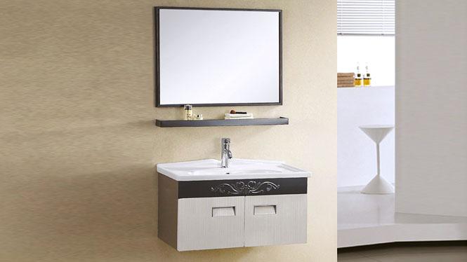 不锈钢浴室柜挂墙式现代简约洗脸盆卫浴柜洗手盆柜组合 800mm YB-9108B