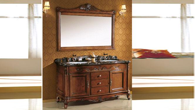 欧式浴室柜落地橡木仿古浴室柜实木美式卫浴柜洗脸盆柜组合 1510mm Y-3003