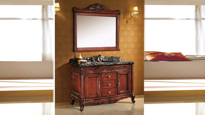 实木组合落地洗手盆柜仿古卫浴柜橡木梳洗柜洗脸池欧式浴室柜 1210mm Y-3004