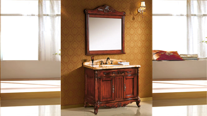 橡木洗手台实木洗脸盆柜落地洗漱台仿古卫浴柜欧式浴室柜组合 1010mm Y-3005