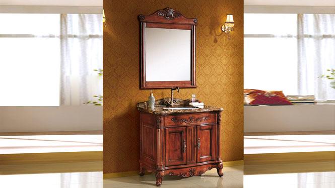 欧式浴室柜仿古浴室柜橡木实木落地洗手台洗脸盆组合卫浴柜 910mm Y-3006