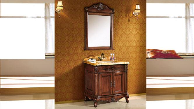 欧式浴室柜落地实木仿古浴室柜橡木组合单盆浴室柜洗手台盆柜整体 810mm Y-3007