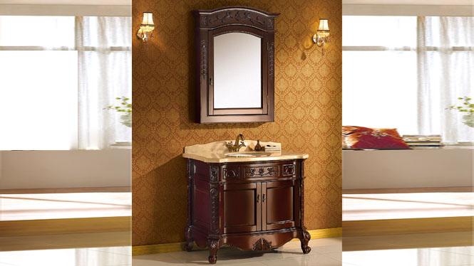 欧式浴室柜 橡木实木卫浴柜落地组合 洗手盆洗脸盆柜洗漱台柜 970mm Y-3008