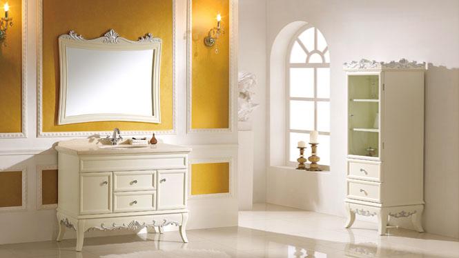 欧式仿古浴室柜橡木落地柜组合柜洗脸盆卫浴柜组合镜柜实木洗漱柜 1100mm Y-3012