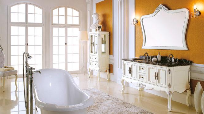 欧式实木浴室柜组合 实橡木卫浴柜洗手洗脸盆落地 仿古浴室柜 1510mm Y-3013