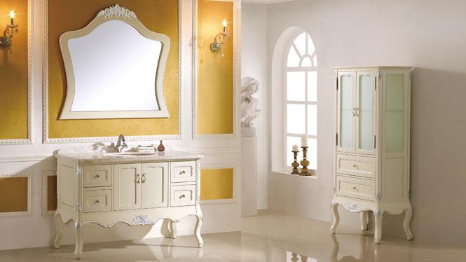 实木组合落地洗手盆柜仿古卫浴柜橡木梳洗柜洗脸池欧式浴室柜 1200mm Y-3014