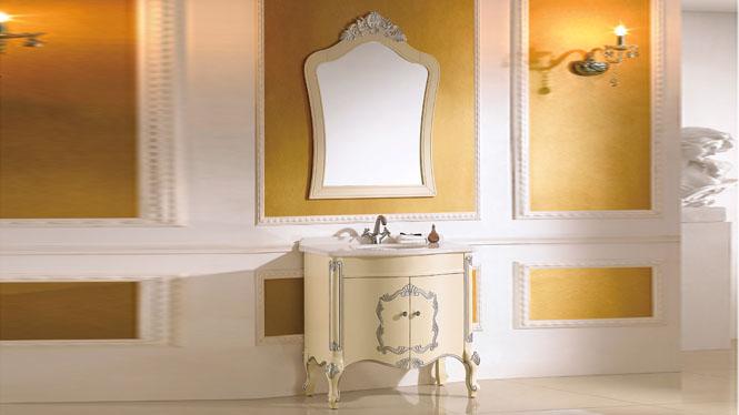 欧式浴室柜落地仿古浴室柜橡木洗脸盆美式浴室柜实木卫浴镜柜组合 900mm Y-3019