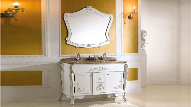 欧式浴室柜仿古浴室柜橡木实木落地洗手台洗脸盆组合卫浴柜 1380mm Y-3020