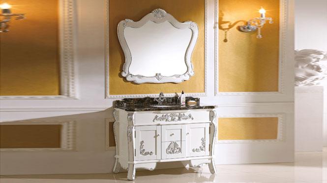 实木欧式仿古浴室柜 橡木大理石洗漱台卫浴柜中式落地浴室柜组合 1200mm Y-3021
