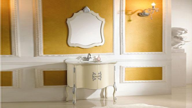 实木欧式仿古浴室柜 橡木大理石洗漱台卫浴柜中式落地浴室柜组合 1000mm Y-3023