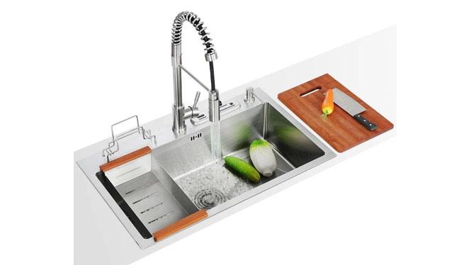 厨房洗菜盆304不锈钢水槽套餐加厚单槽多功能家装主材厨盆 7948S