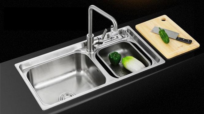 厨房洗菜盆 304不锈钢 水槽双槽洗碗池一体成型套餐8143L