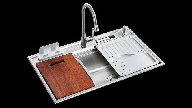 厨房水槽超大单槽SUS304#不锈钢洗菜盆 配置齐全 7848L