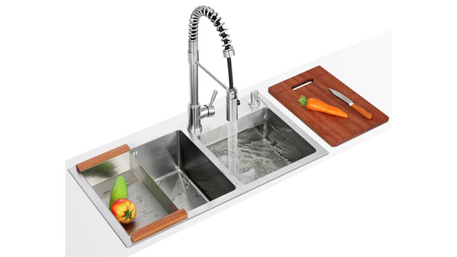 厨房水槽 纯手工双槽 304不锈钢洗菜盆 加厚面板套餐特价7842S