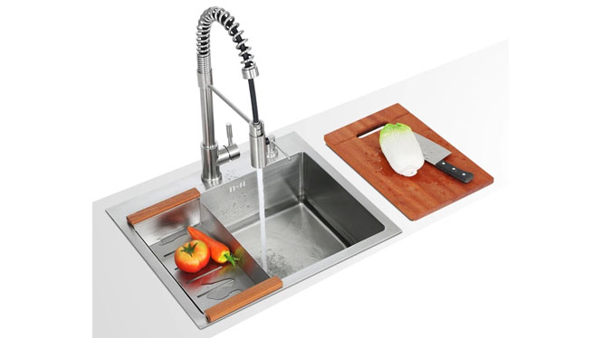 304不锈钢水槽 纯手工单槽 加厚面板 高端厨房洗菜盆套餐5648S