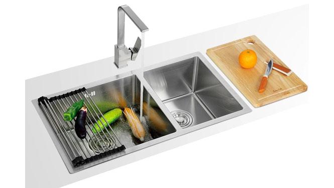 手工水槽双槽套餐 进口304不锈钢厨房洗菜盆 加厚特价7843S