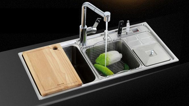 水槽套餐 厨盆双槽304一体拉伸 不锈钢厨房水槽洗菜盆精细拉丝9244R