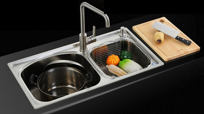水槽双槽 厨房洗菜盆双槽 洗碗盆304不锈钢拉丝双槽8245L