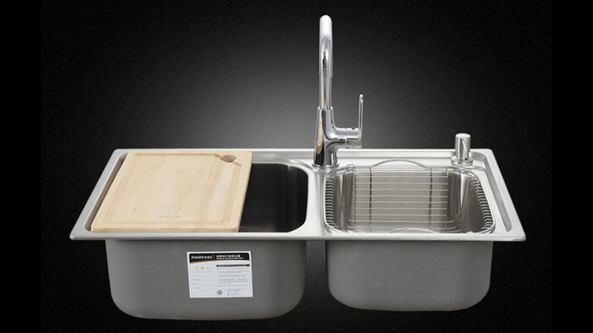 水槽 双槽 SUS304厨房不锈钢 拉丝水槽 一体成型 7642L