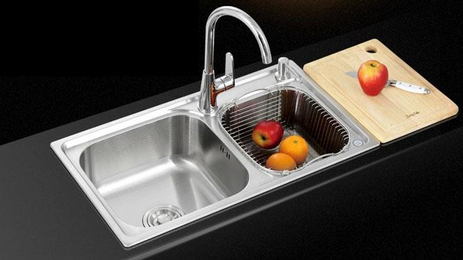 水槽 双槽 SUS304厨房不锈钢 拉丝水槽 一体成型 7241L