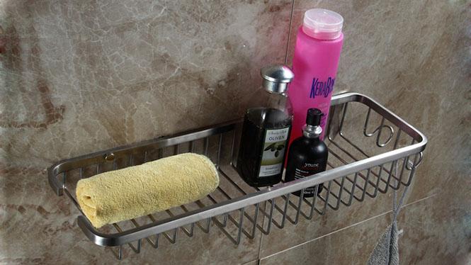 304不锈钢单层网篮浴室架卫生间置物架壁挂方形角架LJ51033