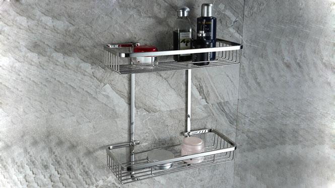 浴室置物架卫浴五金挂件卫生间方形角篮全钢单双层网篮LJ51056