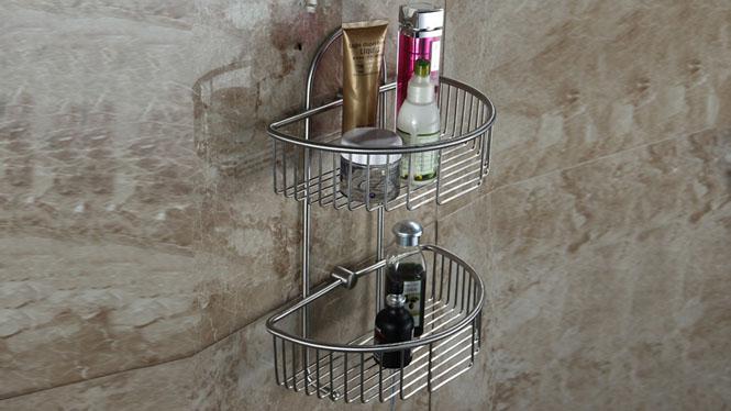 304不锈钢双层浴室网篮收纳篮厨卫挂架置物架卫生间角蓝LJ51026