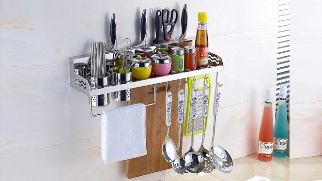 304不锈钢厨房置物架刀架调料架壁挂收纳架厨房用品架子用具40cm50cm60cm LJ808
