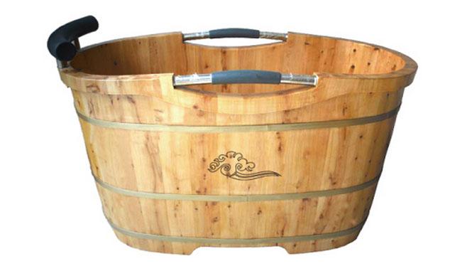 香柏扶手木桶浴桶香柏木沐浴桶成人浴盆泡澡浴缸浴桶洗澡桶洗RY011