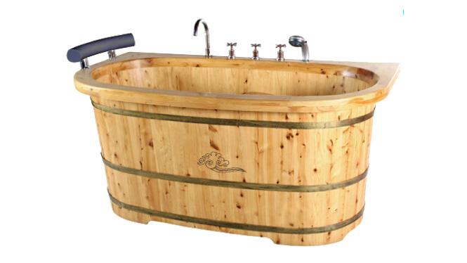 香柏木泡脚泡澡桶浴缸浴盆木桶包边带龙头沐浴桶洗澡桶 RY019