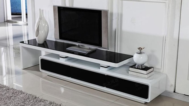 电视柜三抽屉钢琴烤漆白亮光黑色钢化玻璃可伸缩M981